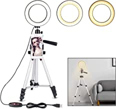 """B-Land 6.2"""" Ring Light with Tripod Stand for YouTube Video and Makeup, Mini LED Camera Light with Cell Phone Holder Desktop LED Lamp with 3 Light Modes & 11 Brightness Level"""
