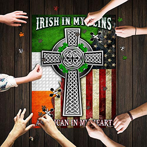 Peter Store 1988-Irish in My Veins American in My Heart Celtic Knot Cross Jigsaw Puzzle Thn2076pz-Puzzles for Adults 1000 Pieces (1000 Pieces, Finished Size 30' x 20', Multi-Color)