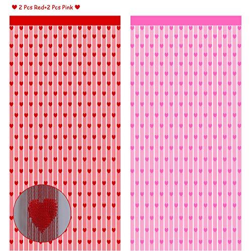 4 Paquetes Cortinas de Ventana de Día de San Valentín, Cortinas de Encaje en Forma de Corazones Rojos, Cortinas de Baño de Ventana Rosado Romántico para Fiestas Aniversario Bodas,41 x 72 Pulgadas