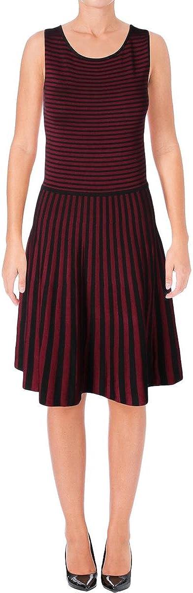 LAUREN RALPH LAUREN Womens Lysari Striped Sleeveless Casual Dress Red M