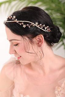 Fxmimior, copricapo da sposa in oro rosa con strass e vite, accessorio per capelli con fiore rosa per donne e ragazze, dia...