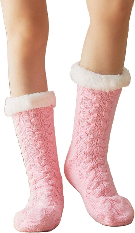 KerDejar Women Winter Warm Thick Knit Plush Lined Slipper Socks, Fuzzy Sleeping Hosiery Pink