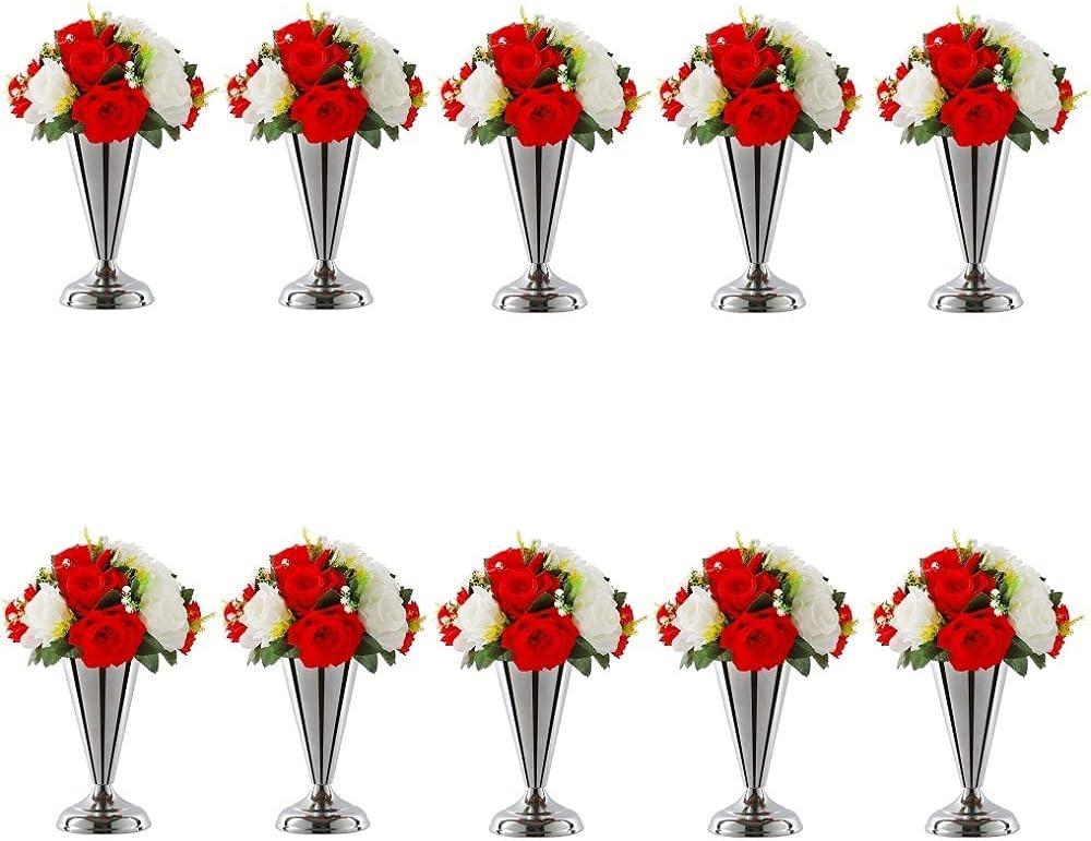 10pcs Tabletop Metal Wedding おしゃれ Trumpet Centerp Vase 激安通販販売 Flower