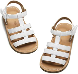 FLARY Toddlers/Little Girls' Velcro Buckle Strap Flat Sandals (White/Black/Brown/Gold)