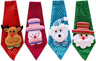 STOBOK 4Pcs Christmas Necktie Led Light Up Glowing In The Dark Sequin Tie Santa Claus Snowman Reindeer Bear Xmas Holiday P...