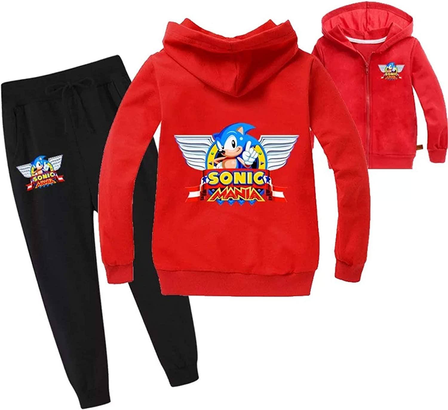 Col-92 Kids Boys Sonic The Hedgehog Zipper Jackets and Sweatpants Set,Child Pull on Hoodies,Graphic Sweatshirts with Hood