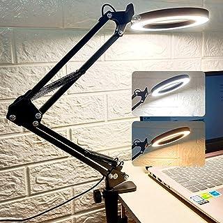 デスクライト suukua LEDリングライト 一機両用 3色モード 10段階調光 卓上ライト 補助光 調色調光 目に優しい 折り畳み式 勉強 オフィス 在宅勤務 USB式 角度調整可能 照度1100Lux以上 拡大鏡テーブルランプ