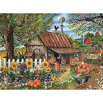 Bits and Pieces - 500 Piece Jigsaw Puzzle for Adults - Bountiful Meadows Farm - 500 pc Sunflowers, Pumpkins, Farm Scene Jigsaw by Artist Thomas Wood by Melville Direct