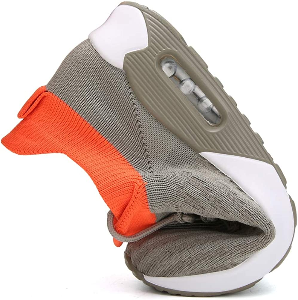 ZYYZ Womens Walking Shoes Slip on Sock Sneakers Breathable Fashion Trainers Air Cushion Mesh Tennis 2839 Grey VdZZ57