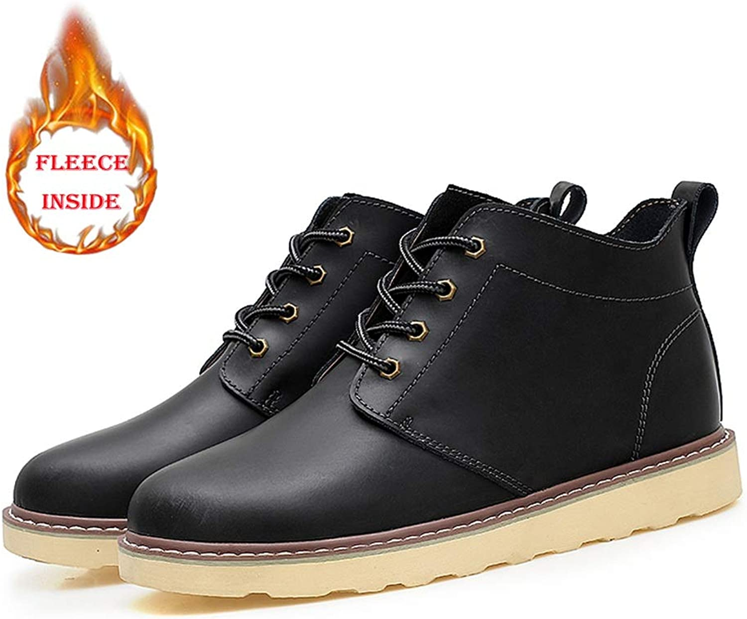 Dig dog bone Men's Fashion Ankle Work Boot Casual Classic Round Toe Winter Faux Fleece Inside High Top Boot(Conventional Optional)