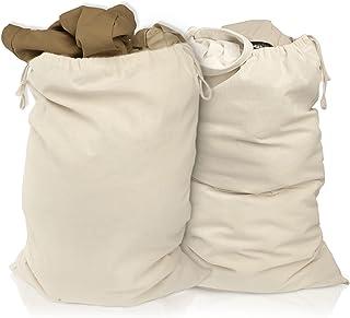 Lot de 2 sacs à linge 50 x 75 cm en 100% coton - très grand sac à linge résistant - collecteur de linge de voyage Boîte à ...