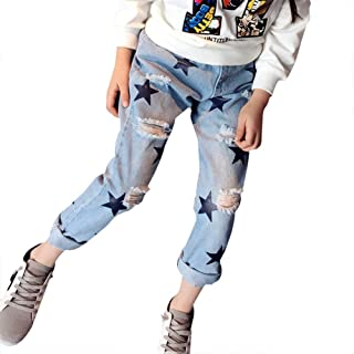 fba67ca273fd Doitsa Vaqueros Rotos Moda Casual para Niños Niña Estudiante de Primaria  5-13 Años,