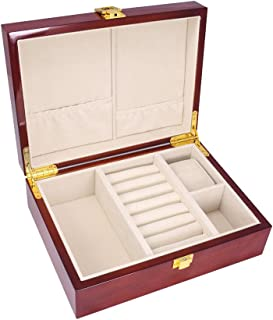 IPOTCH Wooden Luxury Cufflinks Box Case Wooden Jewelry Ties Organizer for Men