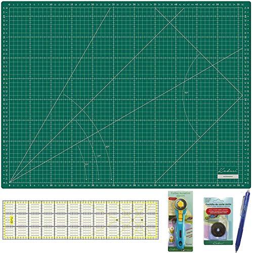Kit Splash Kadusi Patchwork con base de corte verde, regla 15x60 (AMARILLA), cutter, recambio cuchilla y marcador de telas