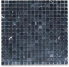 Nero Marquina Black Marble Square Mosaic Tile 5/8 x 5/8 Polished