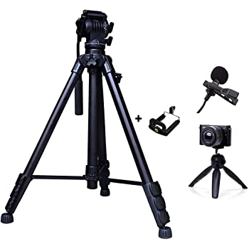 Eloies Simpex VCT 888 RM Heavy Duty Video and Photo Professional Tripod kit with Eloies Mini Tripod for DSLR Camera's & Mobile Phones and Microphone for Quality Sound Recording.