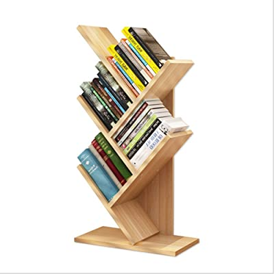 jingxi1205 5-Shelf Tree Bookshelf for Kids,Compact Book Rack Bookcase,Display Storage Furniture for CDs, Movies & Books,Holds Up to 10 Books Per Shelf (Yellow)
