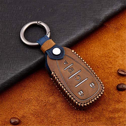 Funda de piel para llave de coche, para Chevrolet Chevy Camaro Cruze Spark Camaro Volt Bolt Trax Malibu XL Equinox 2017 Accesorios (E-marrón)