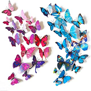 HAKDAY 24 PCS 3D Butterfly Wall Stickers Crafts Butterflies DIY Art Decor Home Room Decorations,12 PCS for Blue and 12 PCS For Purple