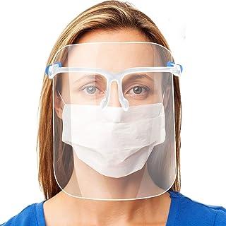 AVJONE 最新バージョン フェイスシールド、厚くする フェイスガード 超軽量 高い透明マスク メガネタイプ シールドマスク 医療用 呼吸しやすい 飛沫対策 反射防止 男女兼用 - 簡単組み立て交換式 (メガネ・シールド10枚セット)