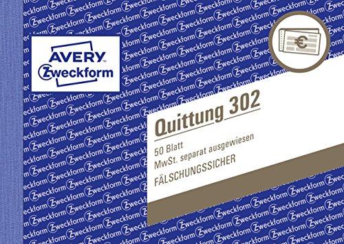 AVERY Zweckform 302 Quittungsblock (A6 quer, 50 Blatt, fälschungssicher, separat ausgewiesene MwSt., für Deutschland und Österreich) weiß
