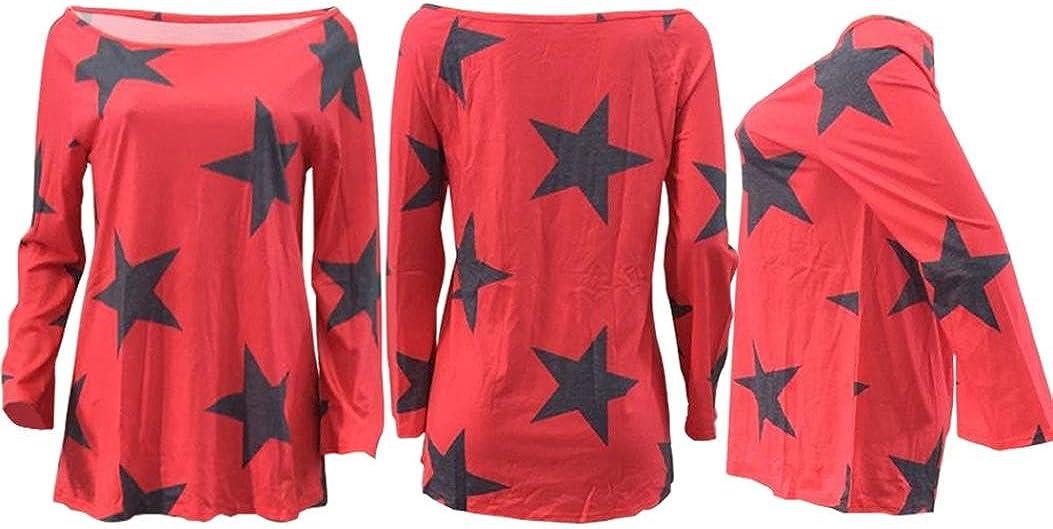TOPUNDER 2018 Women Girl Strapless Star Sweatshirt Long Sleeve Crop Jumper Pullover Tops