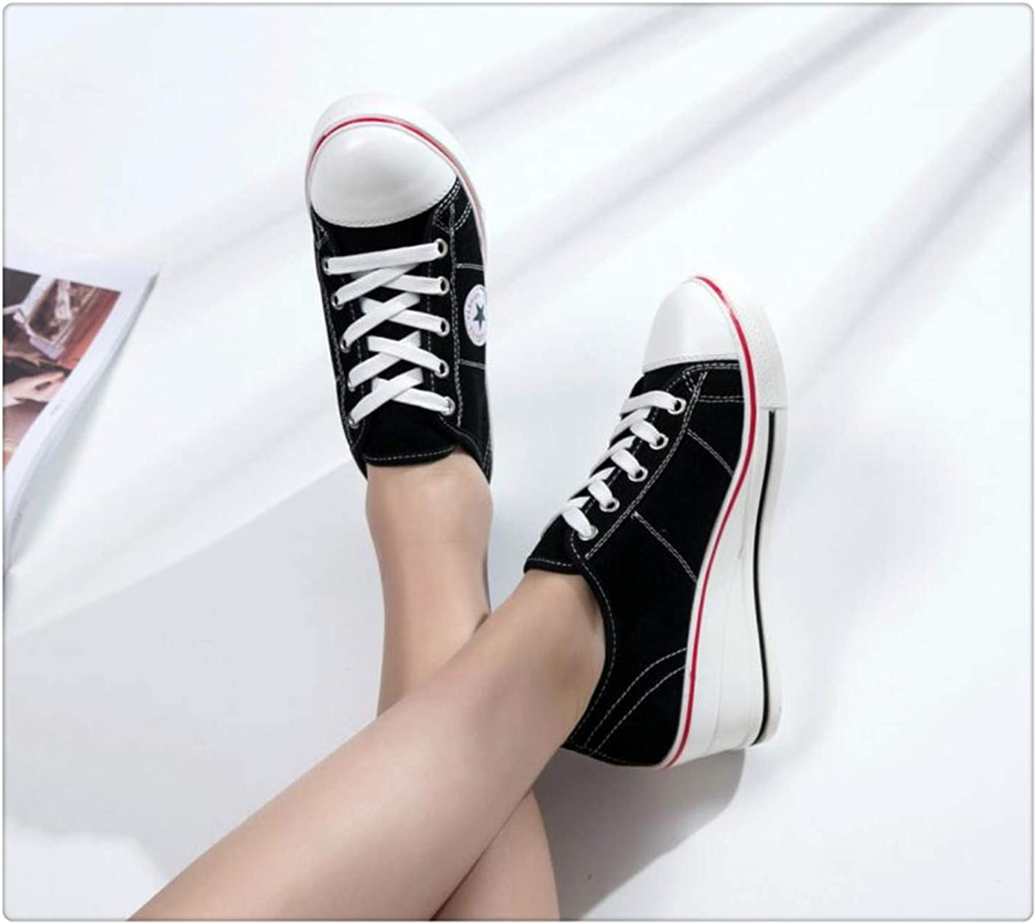 Women Sneakers Plus Size 41 42 Platform Wedge Vulcanized Casual Canvas shoes