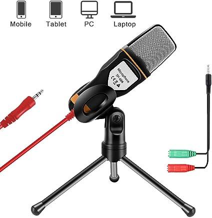 AOBETAK Microfonoper PC e Smartphone con Supporto, Professionale 3.5 mm Jack Microfono a Condensatore con 3.5 mm Stereo Jack Splitter, per Loptop iPad Mac Gaming Singing YouTube Skype, Studio, Nero - Confronta prezzi