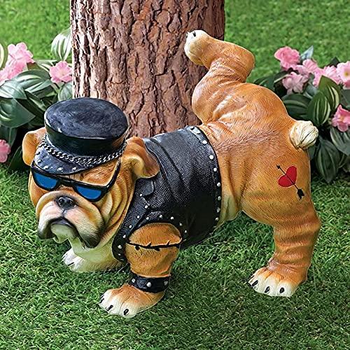 Figura decorativa de bulldog de resina de color realista, estatua creativa de bulldog para perros, resistente a la intemperie, para jardín, césped, regalo, decoración para casa (15 x 10 x 9 cm)