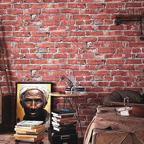 Wallpaper Faux Rust Tuscan Brick Wall, Looks Real Up 20.8 In32.8 Ft=57 Sq.ft (Red Multi)