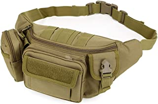 Tactical Waist Messenger Bag Military Fanny Pack [9 Pockets], AYAMAYA Waterproof Utility Compass Pouch Portable Tear-Resistant Two Uasage Molle Large Hip BumBag or Shoulder Pack for Camping Travel