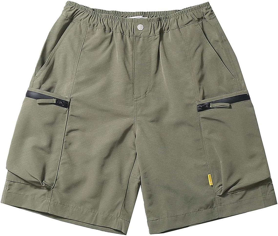 CHARTOU Men's Loose Elastic Waist Capris Cargo Shorts with Multi Pockets