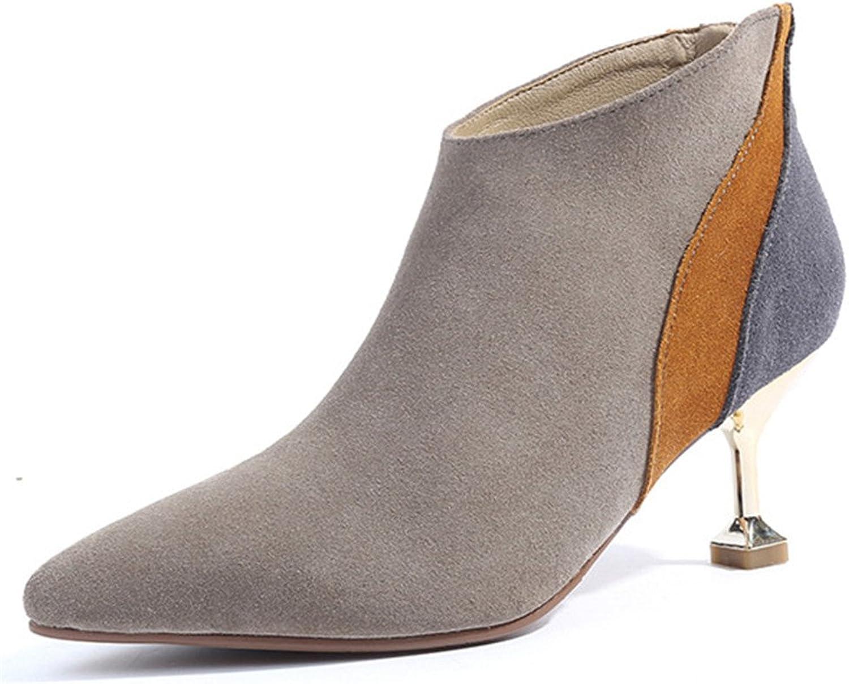 Nine Seven Suede Leather Women's Pointy Toe Stiletto Heel Style Elegant Handmade Ankle Boot