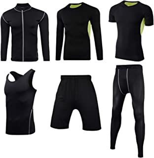 6pcs Men's Fitness Running Wear Suit, Lightweight Breathable Super Stretch Compression Sportswear, Sports Fitness Skiing C...