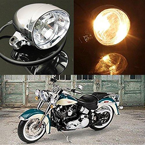 TUINCYN Faros redondos de motocicleta / faros antiniebla DC 12V Moto Luz de carretera Luz de trabajo Luz de marcha Luz de marcha con carcasa de color plateado y luz ámbar (paquete de 1)