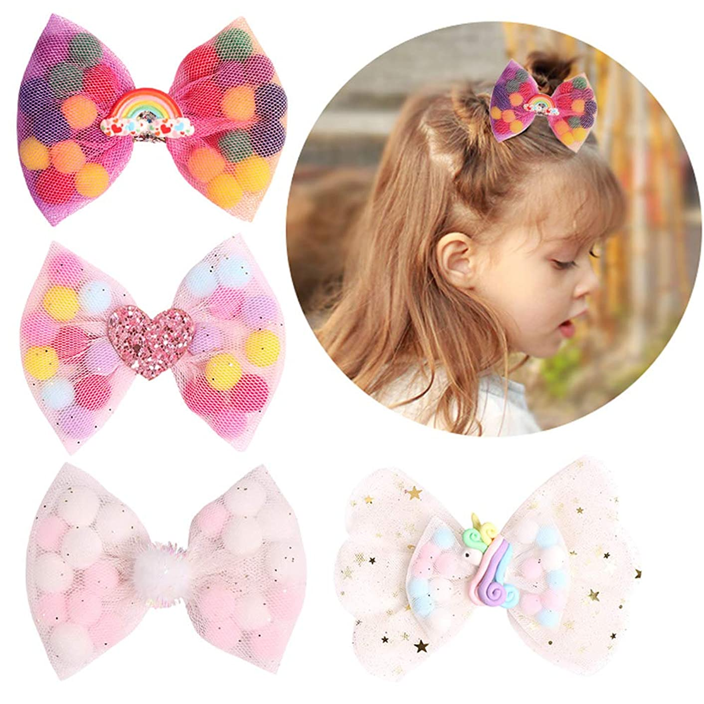 Unicorn Net Yarn Bow Pompon Hair Bows Boutique Princess Hair Clips Summer Hairpins Kids Barrettes for Girls Hair Accessories