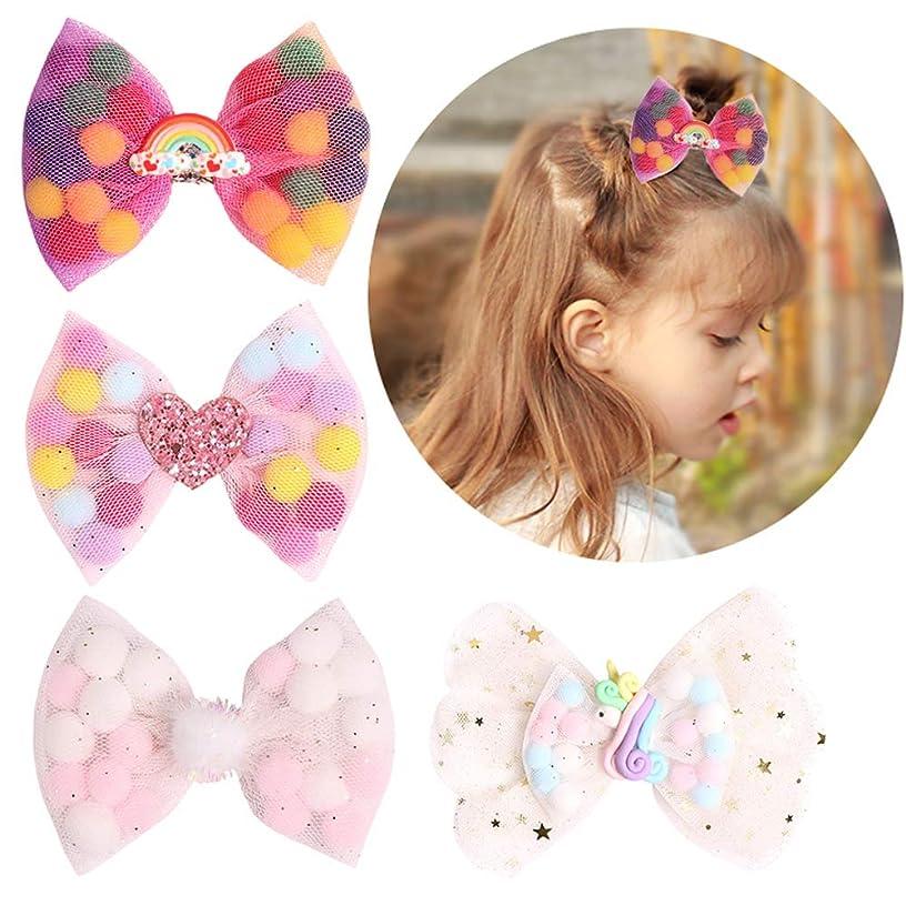 Unicorn Net Yarn Bow Pompon Hair Bows Boutique Princess Hair Clips Summer Hairpins Kids Barrettes for Girls Hair Accessories