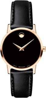 MOVADO Swiss Museum Classic Black Dial Women's Rose Gold PVD Slim Leather Watch