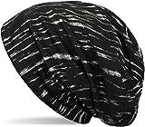 styleBREAKER Beanie Mütze mit Metallic Streifen, Slouch Longbeanie, Unisex 04024120, Farbe:Schwarz