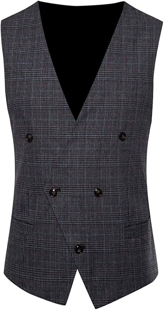 GREFER Slim Fit Suit Vest for Men V-Neck 5 Button Tweed Gentleman White Shirt Tuxedo Dress Waistcoat