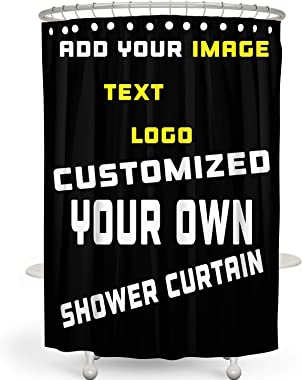 Custom Shower Curtain, Add Your Own Designs Design Photo or Text Logo Picture, Personalized Bathroom Shower Curtain 60x72in (