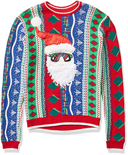 Blizzard Bay Men's Ugly Christmas Sweater Santa, Multi, Large