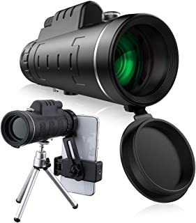 40x60 HD Mini Monocular Telescope With Tripod Cell Phone Holder,Compass and Low Light Night Vision for Outdoor Birding Travel Sightseeing Hunting