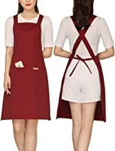 Adjustable Painting Apron with 2 Pockets Cotton for Cobbler,Adult,Butcher,Hairstylist Fits for Grill,BBQ,Paint Cross Red Wine