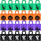 24 Pieces Halloween Jack-o-Lantern Pumpkin Tote Bags Halloween Non-Woven Candy Bags Trick or Treat Goody Bags for Halloween Party Favors Supplies (Color Set 3)