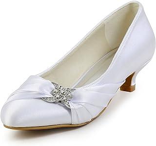 EP2006L Mujer Punta Chiusa Mini Tacón Rhinestones Plisado Satén Zapatos de Noche Zapatos de Noche
