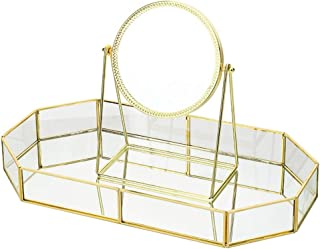 AINIYF Metal Brass Mirror Desktop Mirror Tray Makeup Jewelry Organizer Simple Style Cosmetic Jewelry Box Vanity Home Décor