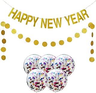 3x Luftschlangen Happy New Year gold Silvester Deko Jubiläum goldene Hochzeit