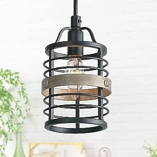 LNC Farmhouse Faux-Wood Pendant Lighting for Kitchen Island, 1 Light Mini Kitchen Pendant Lights Fixtures, Small Cage Pendant Lighting for Dining Room