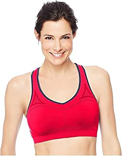 2-Pack Hanes Women's Jogbra Seamless Racerback Sports Bra (Medium, Pink Bloom)